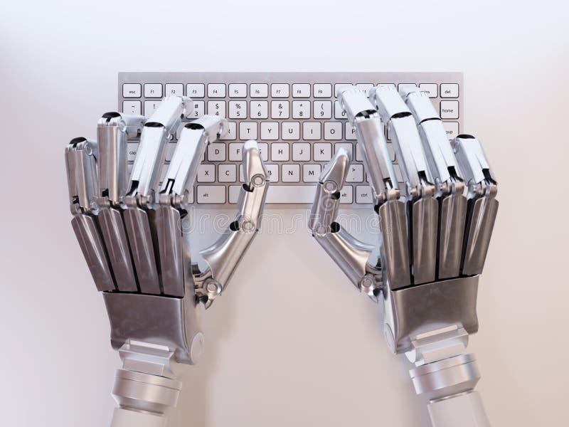 Robot che scrive sulla tastiera fotografia stock libera da diritti