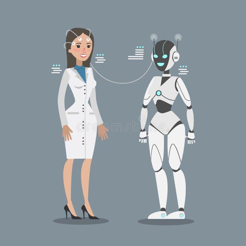 Robot che si collega con la donna royalty illustrazione gratis