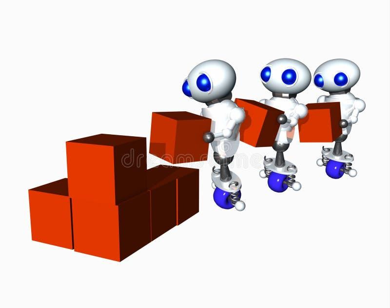 Robot che spostano le caselle illustrazione vettoriale