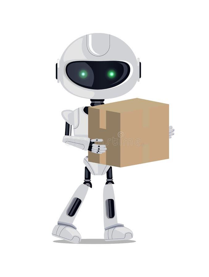 Robot che sta con l'illustrazione di vettore del pacchetto illustrazione vettoriale