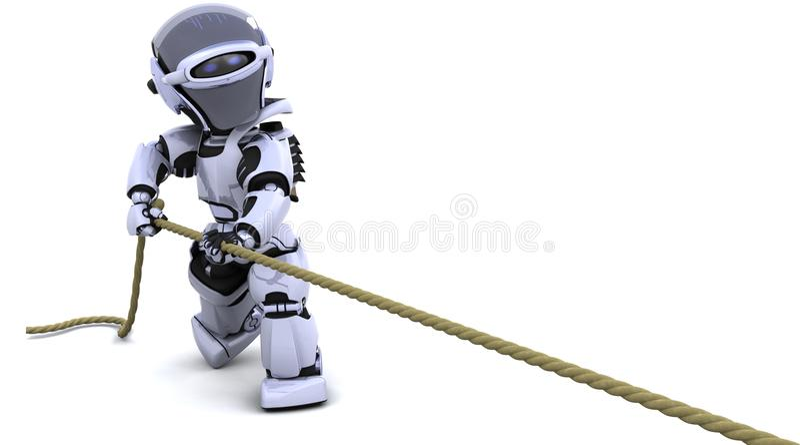 Robot che tira una corda illustrazione di stock