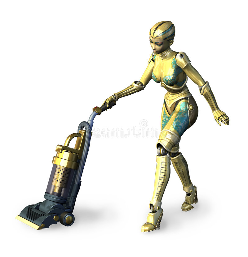 Robot che Vacuuming 2 royalty illustrazione gratis
