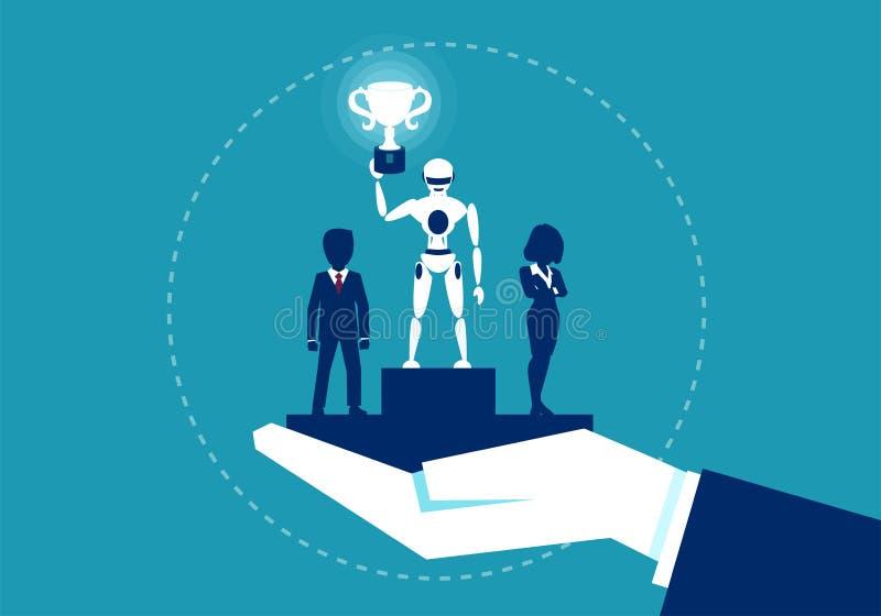 Robot che vince nella corsa con l'essere umano illustrazione di stock