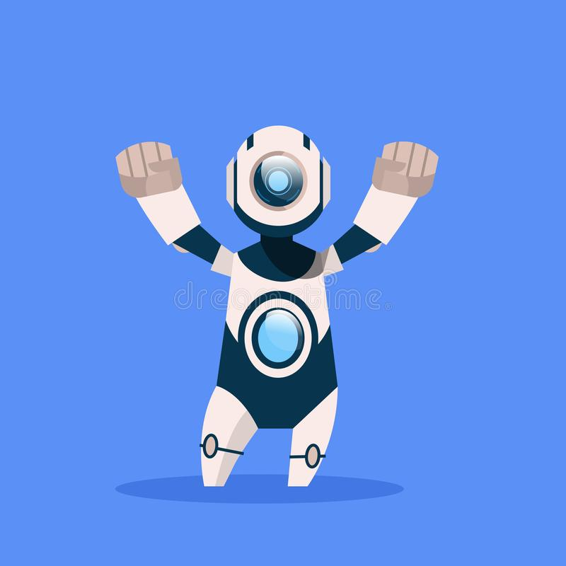 Robot Cheerful And Friendly Isolated On Blue Background Concept Modern Artificial Intelligence Technology stock illustration