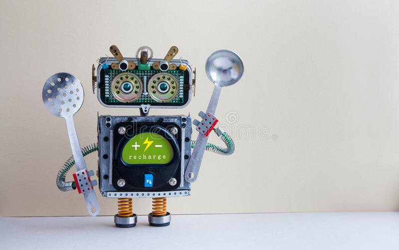 Robot chef with ladle skimmer, recharge battery message green interface body. Creative design cyborg toy, kitchen royalty free stock image