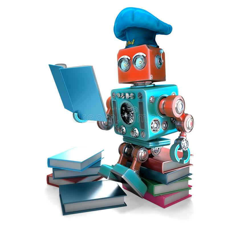 Robot Chef reading cookbook. 3D illustration. Isolated. Contains clipping path.  stock illustration