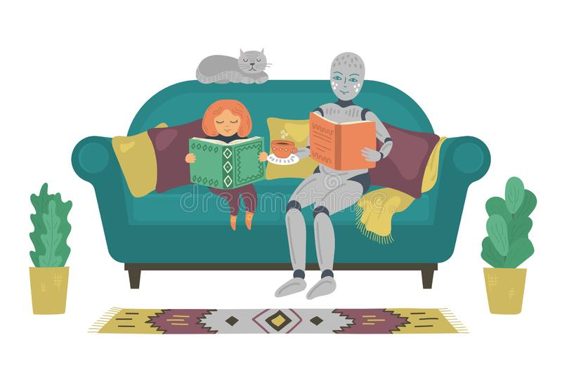 Robot with child reading book on sofa at home. Robot help girl to do homework. Futuristic concept. royalty free illustration