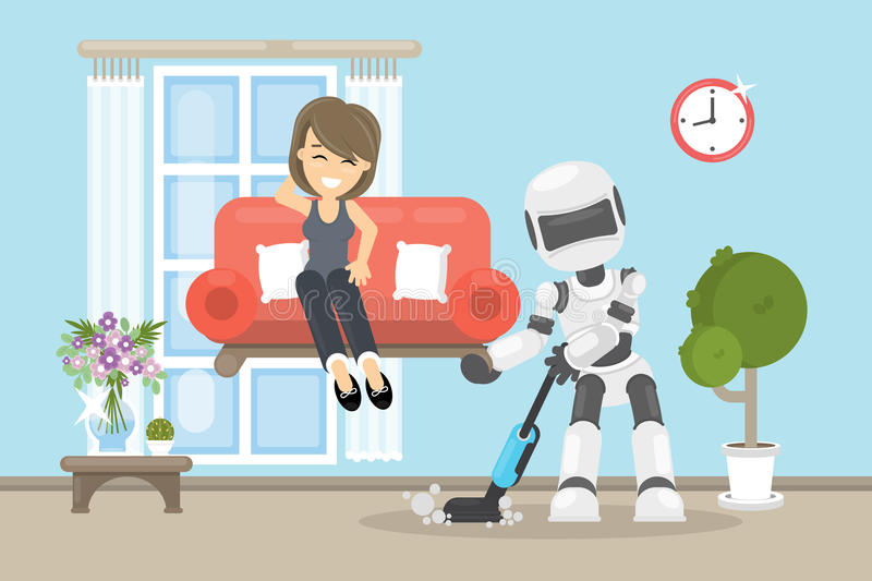 Robot cleaning house. vector illustration
