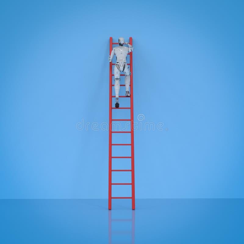 Robot climb ladder vector illustration