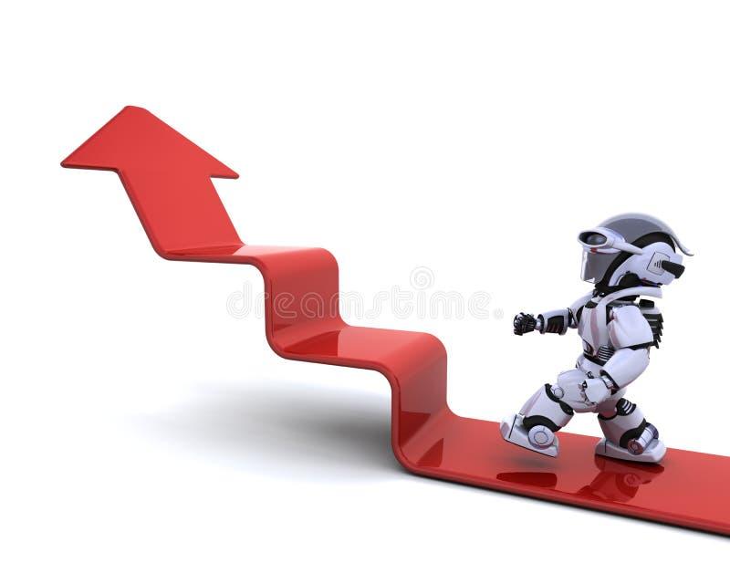 Robot climbing a graph vector illustration