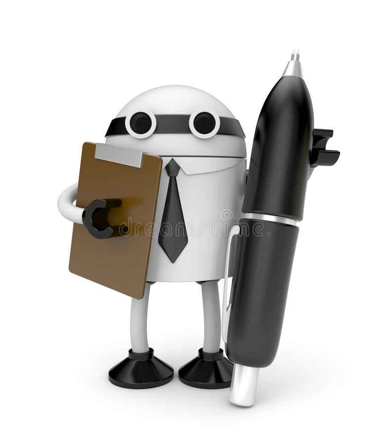 Download Robot With Clipboard And Pen Stock Illustration - Image: 25994947
