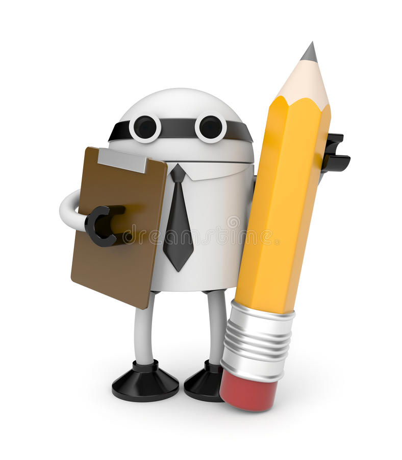 Robot with clipboard and pencil stock illustration