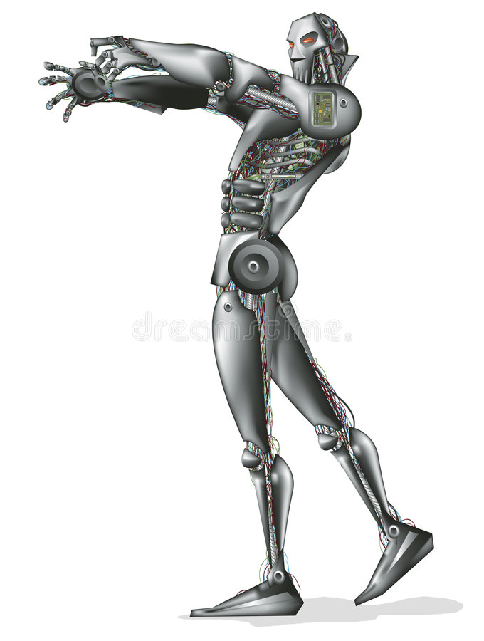 Robot with clipping path. Illustration with clipping path vector illustration