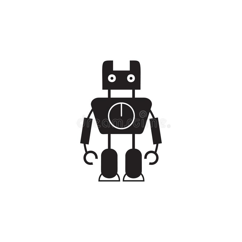 robot with a clock icon. Element of robots for advertising signs, mobile concept and web apps. Icon for website design and develop vector illustration