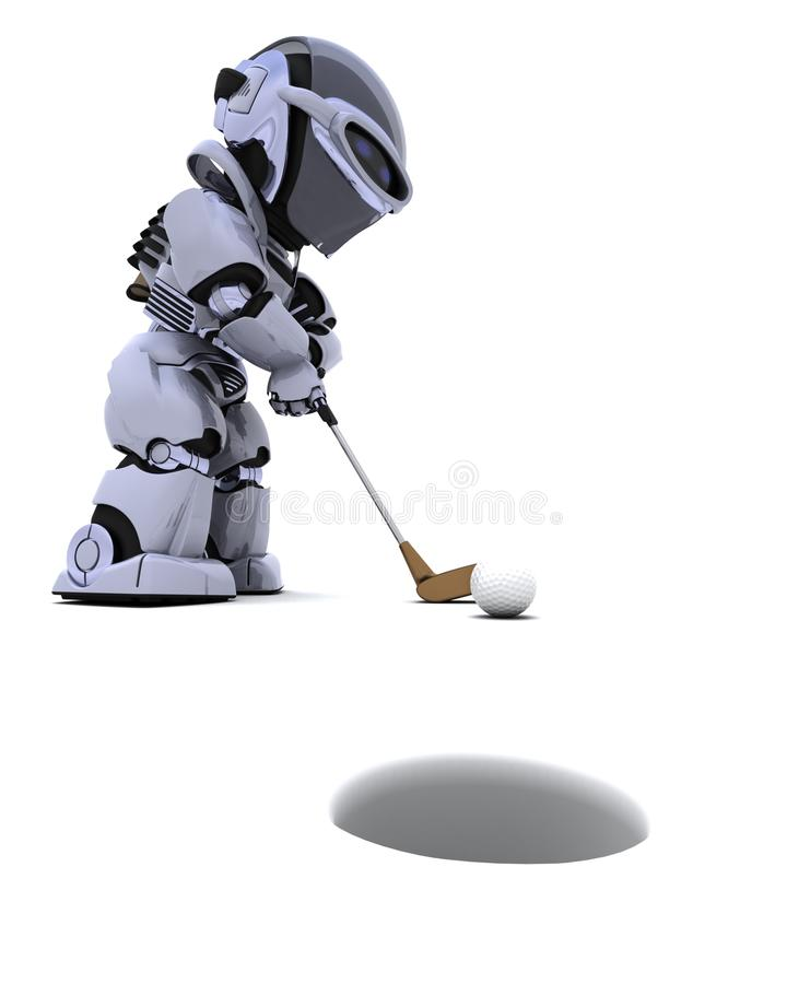 Robot with club playing golf. 3D render of robot with club playing golf stock illustration