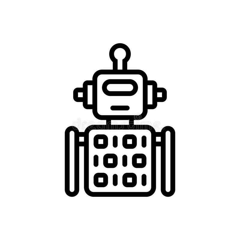 Black line icon for Robot Code, algorithm and application. Black line icon for Robot Code, artifical, software, machinery, mechanic,  algorithm and application royalty free illustration