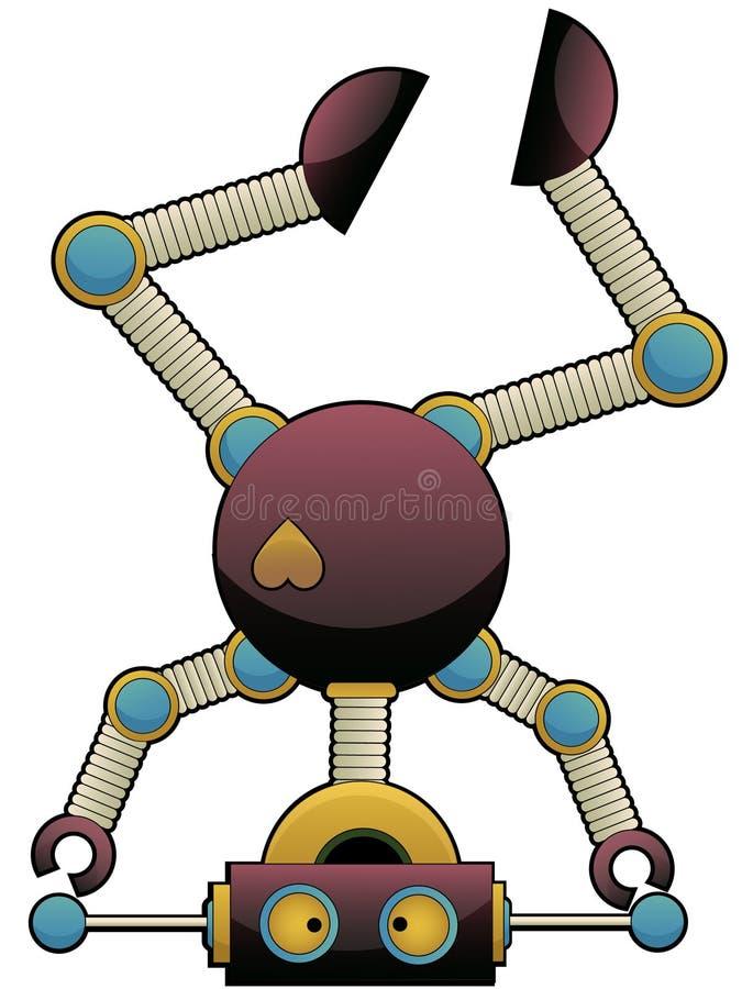 Robot coloré mignon étrange restant sur sa tête illustration de vecteur