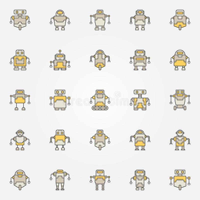 Robot colorful icons set - vector robots creative signs stock illustration