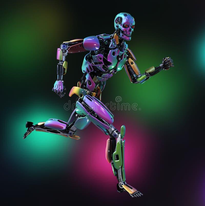 Robot colorido que corre con el fondo colorido libre illustration