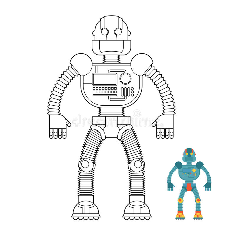 Robot Coloring Book. Cyborg - Technological Machine. Humanoid Ma ...