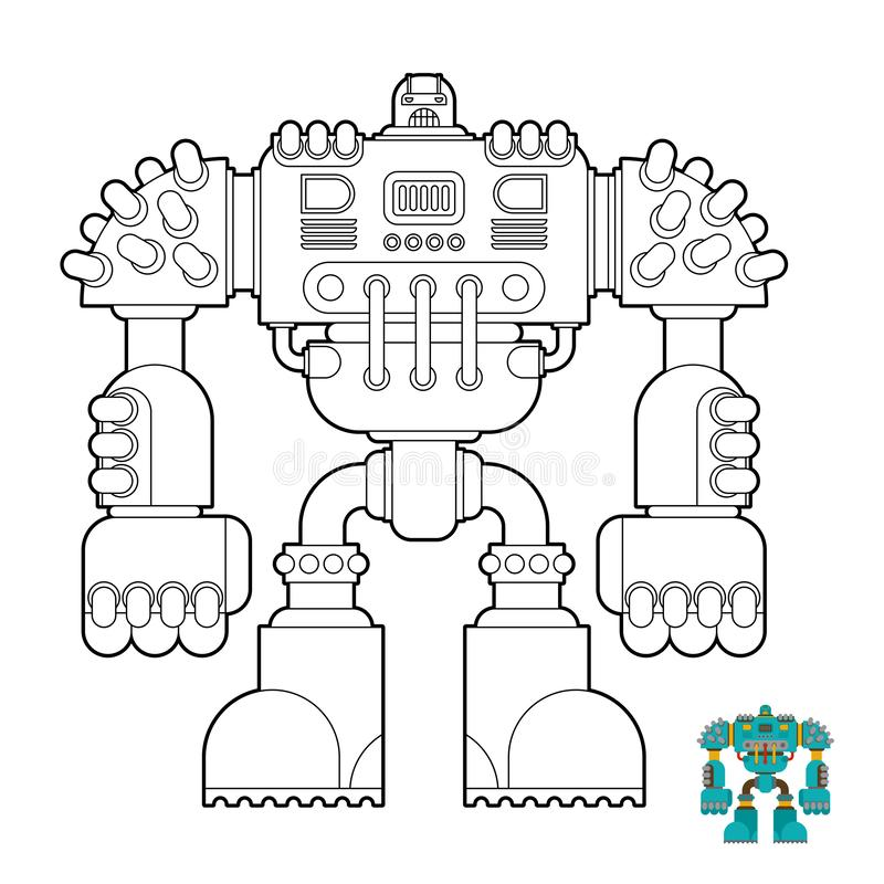 Robot Coloring book. Cyborg warrior future for children. Vector stock illustration