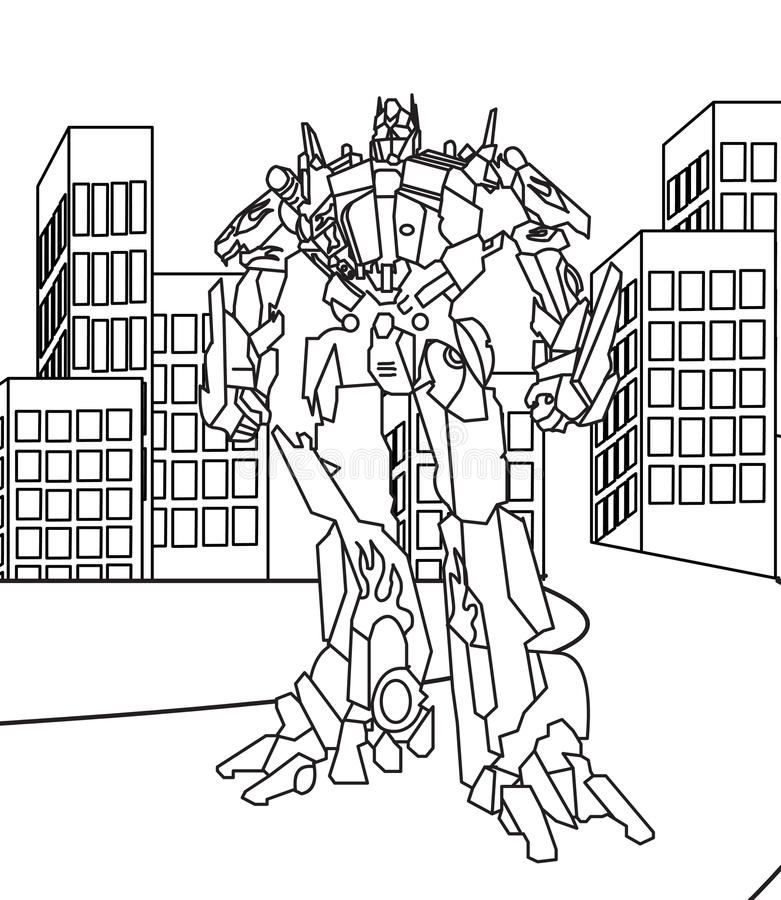 Robot coloring page. Hand drawn big robot coloring page for kids vector illustration