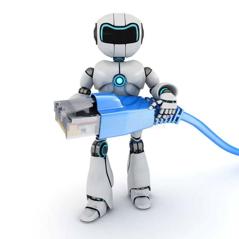 Robot and computer cable. (done in 3d stock illustration