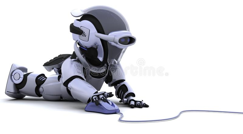 Robot with a computer mouse. 3D render of robot with a computer mouse stock illustration