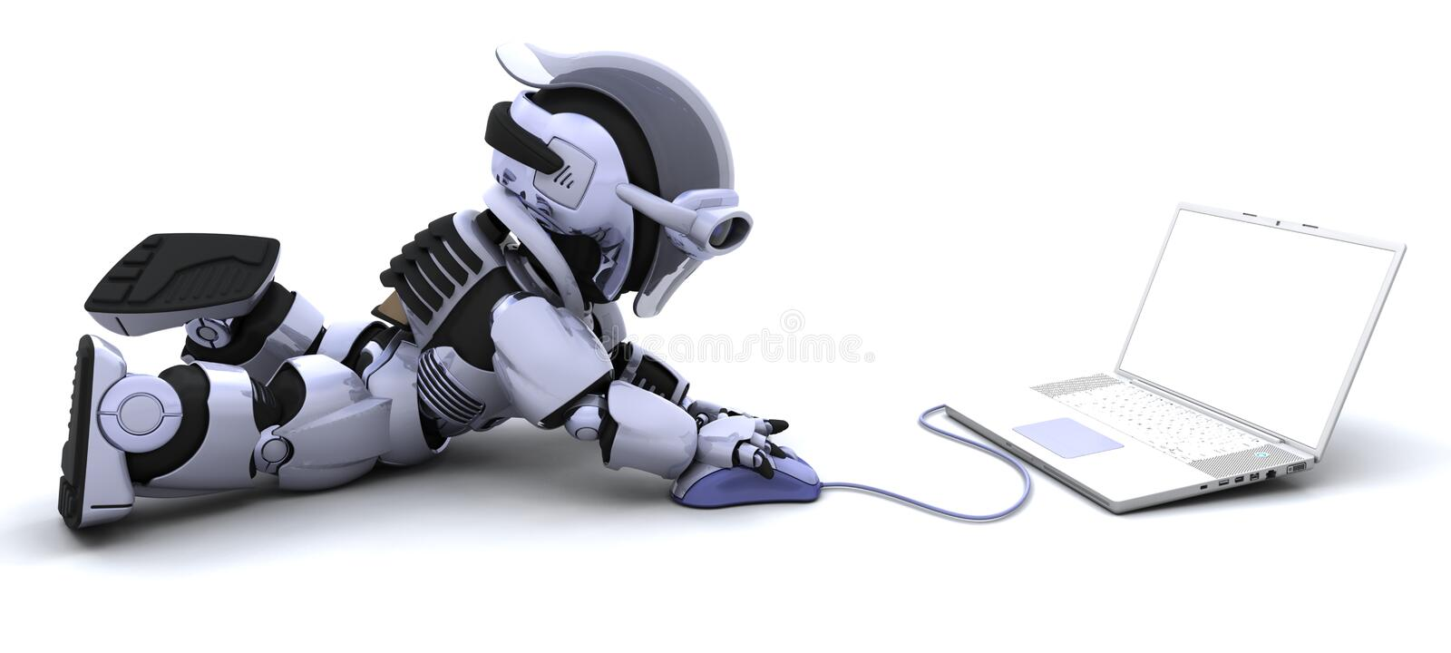 Download Robot With A Computer And Mouse Stock Illustration - Illustration: 14190260