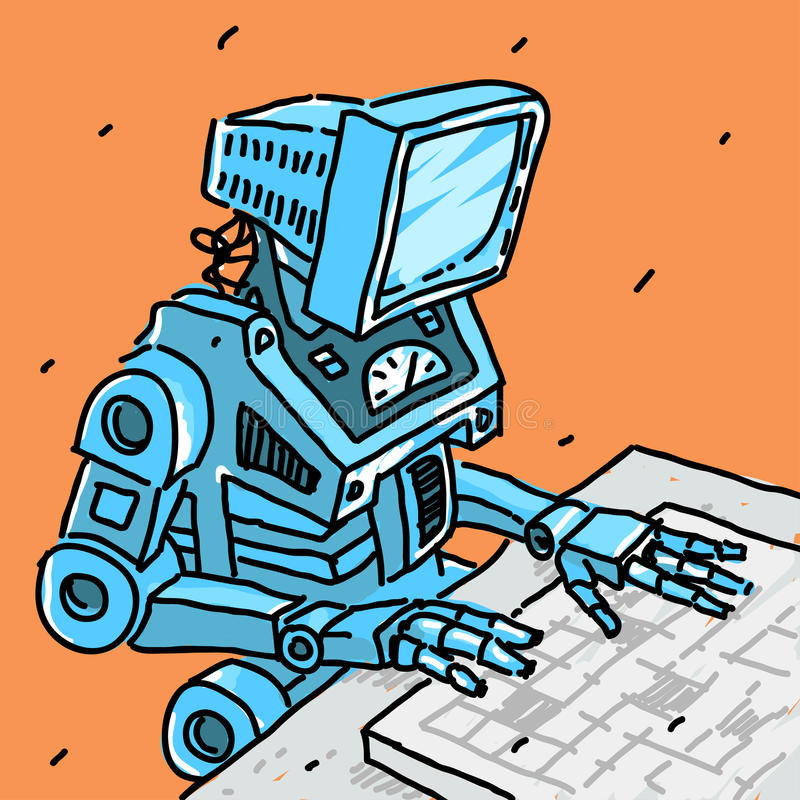 Robot and computer. Vector illustration eps 8 file format stock illustration