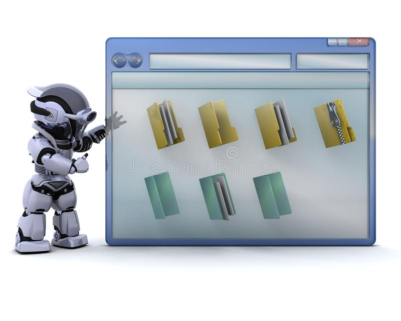 Download Robot With Computer Window And Folder Icons Stock Illustration - Image: 15740751