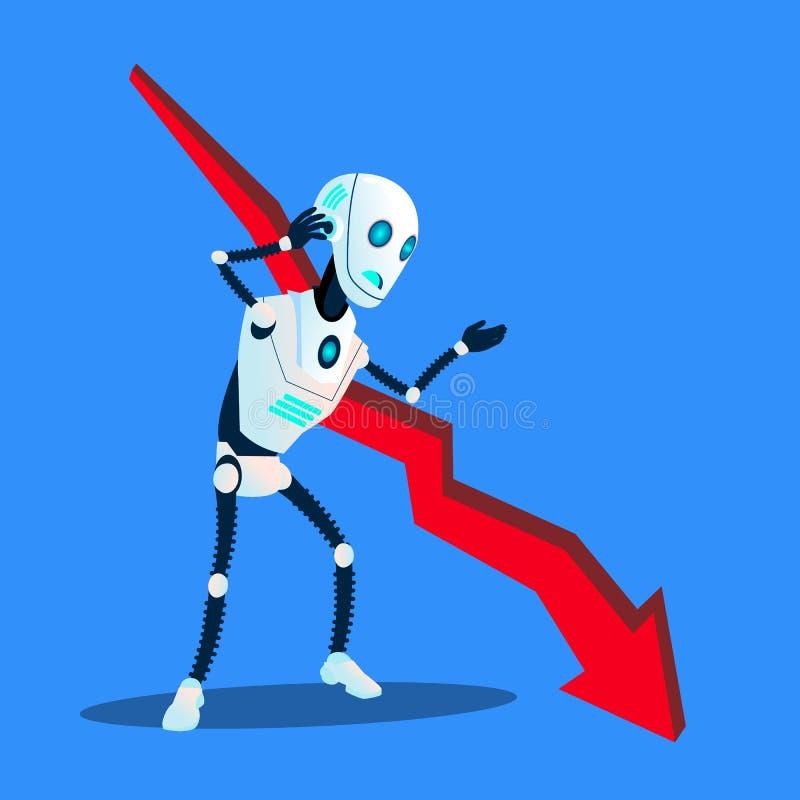 Robot con caer vector abajo de disminución de la carta de la tendencia del negocio Ilustración aislada ilustración del vector