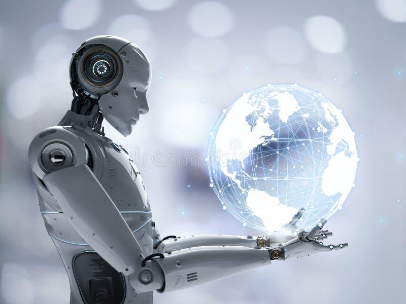 Robot con collegamento globale royalty illustrazione gratis