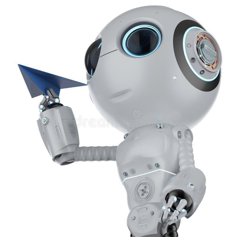 Robot con el avión de papel stock de ilustración