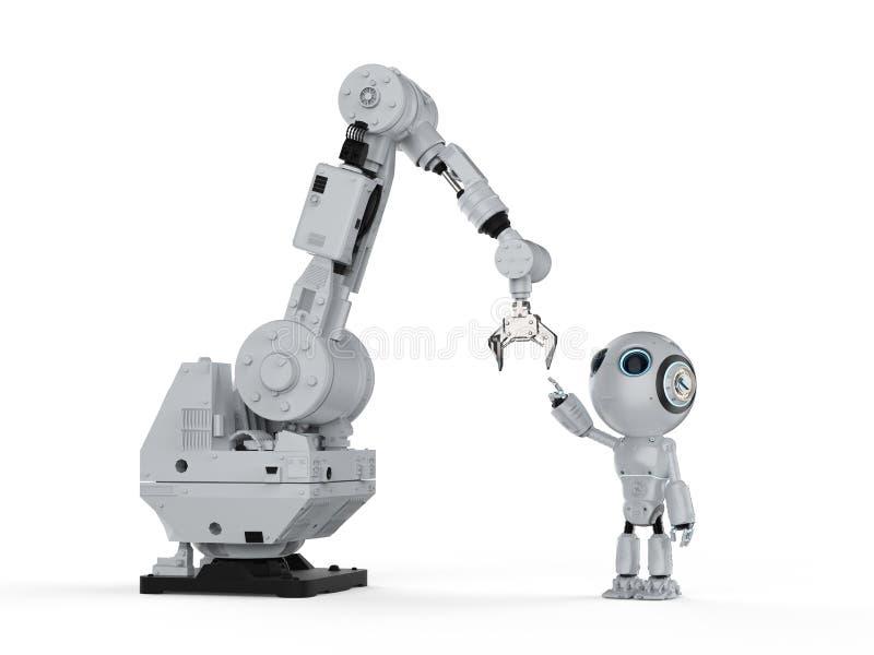 Robot con el brazo robótico ilustración del vector