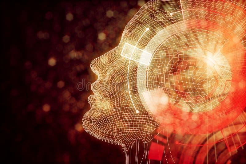 Robot con el cerebro anaranjado digital ilustración del vector