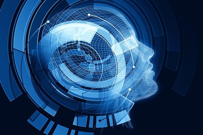 Robot con el cerebro azul digital stock de ilustración