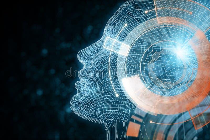 Robot con el cerebro digital de la turquesa stock de ilustración