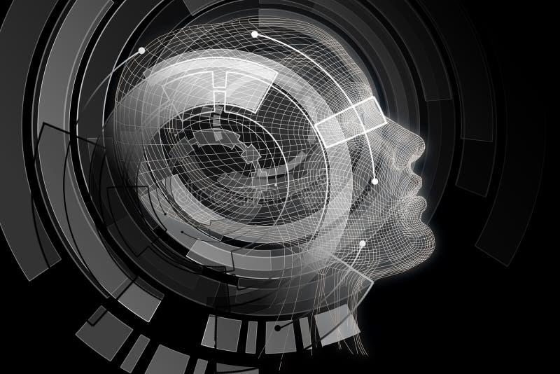 Robot con el cerebro gris digital libre illustration