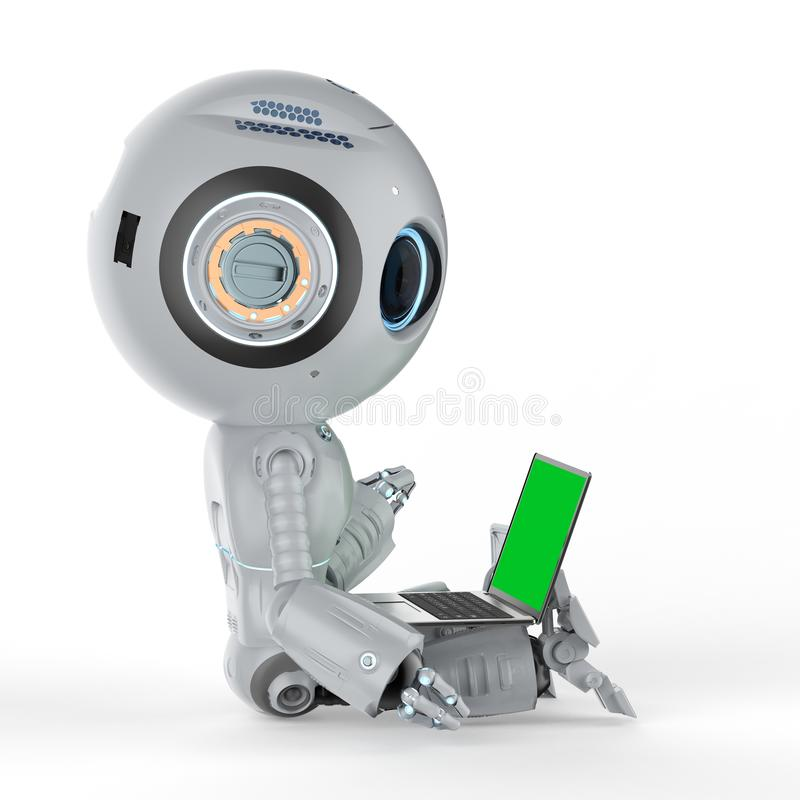 Robot con el cuaderno ilustración del vector