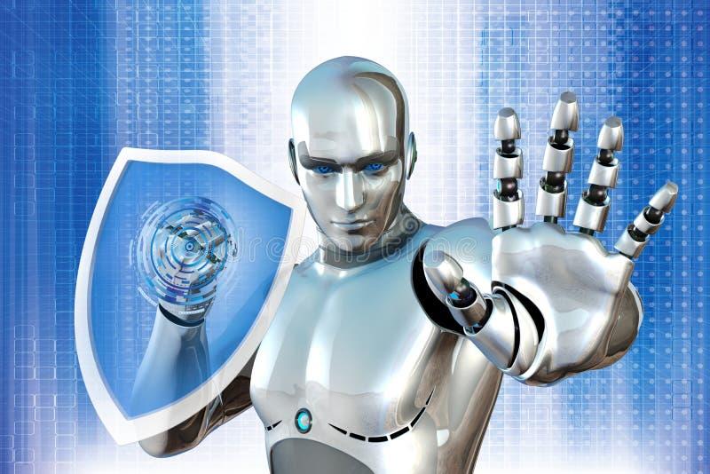 Robot con el escudo ilustración del vector