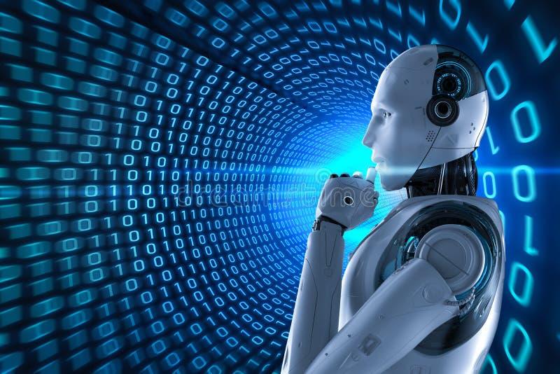 Robot con el fondo binario del t?nel ilustración del vector