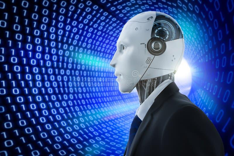 Robot con el fondo binario del t?nel stock de ilustración