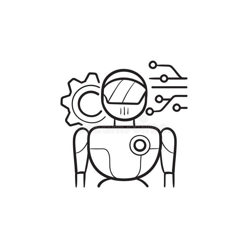Robot con el icono exhausto del garabato del esquema de la mano del circuito digital ilustración del vector