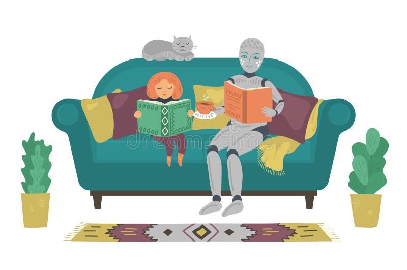 Robot con el libro de lectura del niño en el sofá en casa Muchacha de la ayuda del robot para hacer la preparación Concepto futur libre illustration
