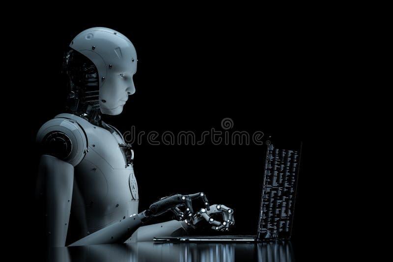 Robot con el ordenador portátil de cristal ilustración del vector
