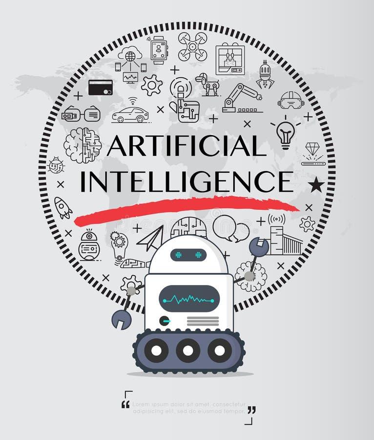 Robot con el paquete del icono de la inteligencia artificial stock de ilustración