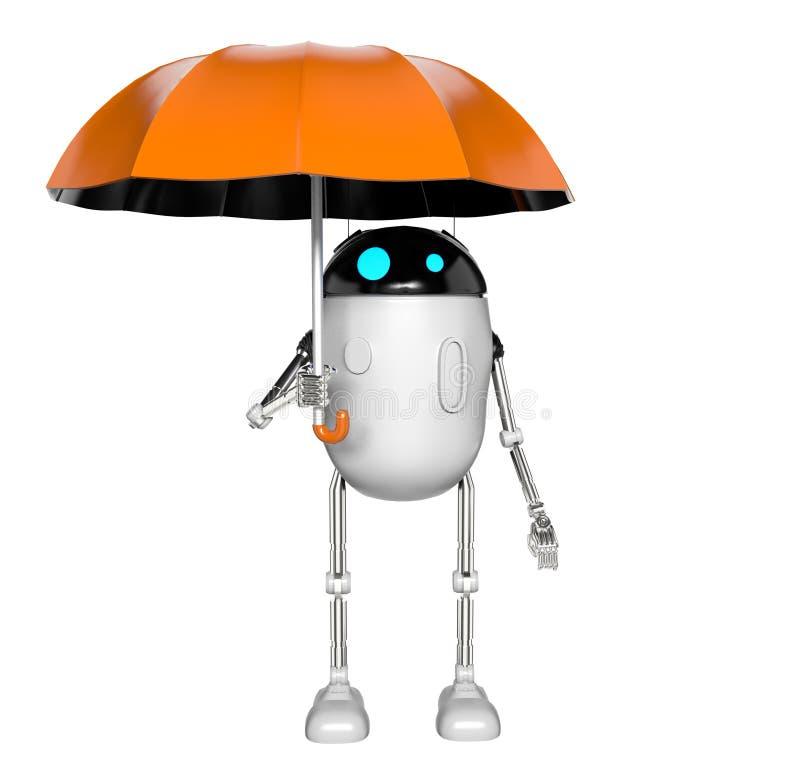 Robot con el paraguas, 3d rendir libre illustration
