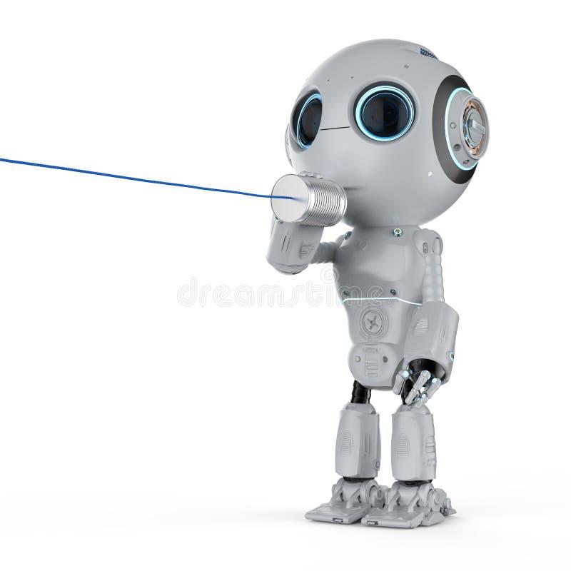 Robot con el teléfono de la lata ilustración del vector