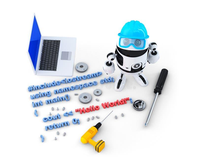 Robot con gli strumenti ed il codice sorgente di programma Isolato Contiene il percorso di ritaglio illustrazione di stock